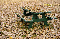 Table de pique-nique cachée sous les feuilles d'automne d'or Photographie stock libre de droits