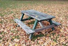 Table de pique-nique de parc en automne Photographie stock