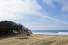 Table de pique-nique de plage Photos libres de droits