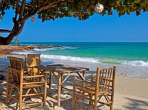 table de plage Photographie stock