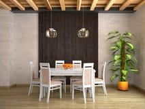 Table de salle à manger blanche contre un mur en bois foncé illustration libre de droits
