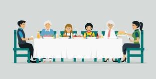 Table de salle à manger de famille Images libres de droits