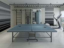 Table de tennis dans le gymnase Image stock