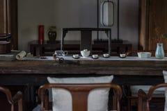 Table de thé dans la cérémonie de thé chinoise Image stock