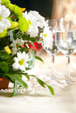 Table decor. With beatiful flowers Stock Image
