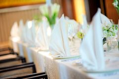 Table decor. And dishware on table Royalty Free Stock Image