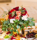 Table decor with flowers Stock Photo