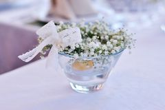 Table decor with flowers Stock Photography
