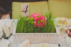 Table decor with flowers table numbers Stock Photography