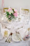Table decor with flowers Stock Images