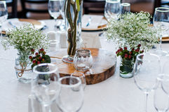 Table decor with wood centre piece Stock Image