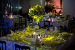 Table decoraction, night wedding decoration with candles and wine glasses, wedding centerpiece Royalty Free Stock Image