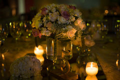 Table decoration, night wedding decoration with candles and wine glasses, wedding centerpiece Stock Photos