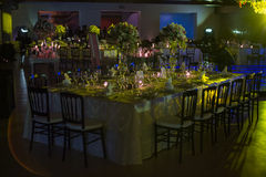 Table decoration, night wedding decoration with candles and wine glasses, wedding centerpiece Stock Images