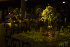 Table decoration, night wedding decoration with candles and wine glasses, wedding centerpiece Stock Image