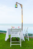 Table decorate for dinner at sea view Royalty Free Stock Image