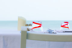Table decorate set with chair foreground Royalty Free Stock Photo