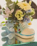 Baby shower decoration. A table decorated for a baby shower boy Stock Image
