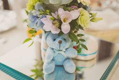 Baby shower present. A table decorated for a baby shower boy Stock Images