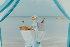 Table decorated with bottle of champagne, cooler, glasses and fruits Royalty Free Stock Photography