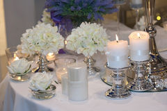 Table decorated with candles Royalty Free Stock Photos