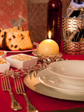 Table decorated for Christmas dinner Stock Image