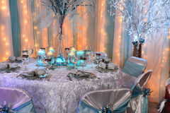 Table Decorated for Christmas Royalty Free Stock Photos