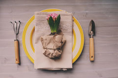 Table decorated for Easter with wrapped hyacinth flower, garden tools and colorful plate. Royalty Free Stock Images
