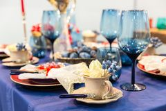 Table decorated with food closeup, nobody Royalty Free Stock Photos