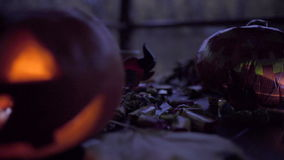 Table decorated with halloween symbol - jack o'lantern, skeleton, witch hat, candies and lights. On halloween night stock footage