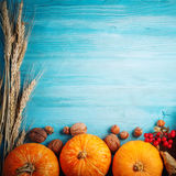 A table decorated with pumpkins, Harvest Festival,Happy Thanksgiving. Stock Image