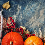 A table decorated with pumpkins, Harvest Festival,Happy Thanksgiving. Stock Photo