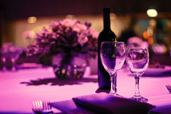 Table decorated for romantic dinner for two. Stock Image