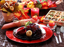 Table decorated for Thanksgiving Royalty Free Stock Photos