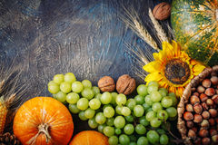 The table, decorated with vegetables and fruits. Harvest Festival,Happy Thanksgiving. Royalty Free Stock Images