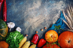 The table, decorated with vegetables and fruits. Harvest Festival,Happy Thanksgiving. Autumn background royalty free stock photography