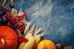 The table, decorated with vegetables and fruits. Harvest Festival,Happy Thanksgiving. Royalty Free Stock Photo