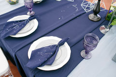 Table decorated for the wedding party. space style Royalty Free Stock Photography