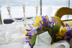 Table decorated for a wedding reception. Royalty Free Stock Images