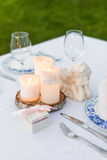 Table decorated for wedding or romantic dinner Stock Images