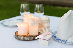 Table decorated for wedding or romantic dinner Royalty Free Stock Image