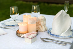 Table decorated for wedding or romantic dinner Stock Photos