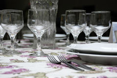 Table decoration. A table with forks, plates and glasses arrangement Stock Photography