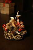 Table decoration. Of pinecone and gourd royalty free stock images