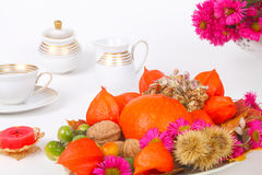 Table decoration in autumn. Colorful Table decoration for thanksgiving Stock Photography