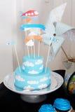 Table decoration birthday cake mastic plate boxes pinwheel Stock Photos