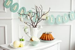 Table decoration with champagne for a festive easter dinner.  stock photos