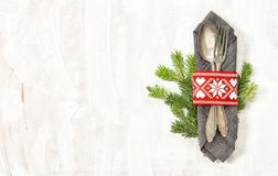 Table decoration Christmas tree branches Holidays menu royalty free stock photo