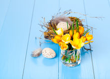 Table decoration with easter eggs Royalty Free Stock Photography