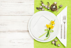 Table decoration Easter eggs flowers Flat lay Stock Images